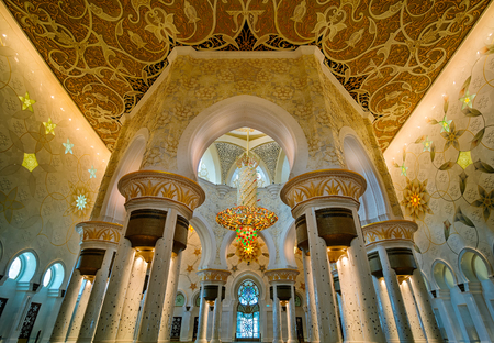 Sheikh: Majestic interior view at Sheikh Zayed Grand Mosque, Abu Dhabi, United Arab Emirates Editorial
