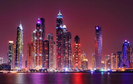Amazing night panorama of Dubai Marina. Multiple highest skyscrapers of the world with residential buildings, Dubai, United Arab Emirates Stock Photo