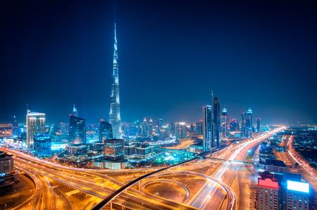 Amazing night dubai downtown skyline, Dubai, United Arab Emirates 版權商用圖片 - 85892669