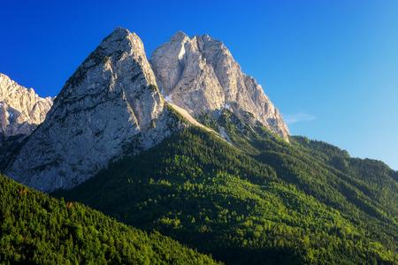 Detailed view at mountain peak Waxenstein. Summer day near Garmisch Partenkirchen. Bavaria, Germany. Stock Photo