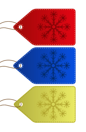 Christmas Price tags Banners Tickets for your next work in 3 color types with motion of snow Vector