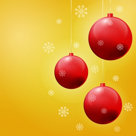 Decorative christmas background withsnowflakes in yellow and red color Stock Vector - 23243712