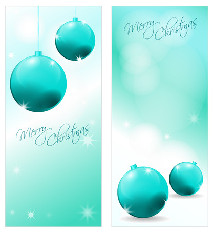 glittery: Collection of 2 decorative christmas postcards with decoration and font
