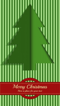 Christmas postcard with motion of tree in green color with place for your text Vector
