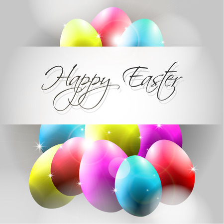 Happy with Flying Colorful Eggs Vector