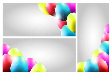 Collection of Three Easter Cards with Colorful Eggs Vector