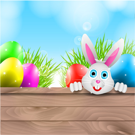 Happy Easter with Bunny and Colorful Eggs Vector