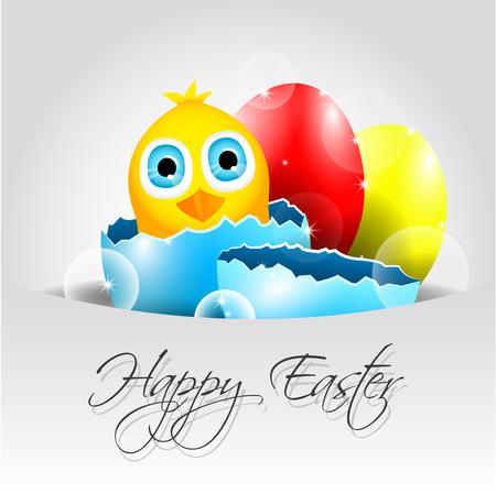 uovo rotto: Felice Background Vector Pasqua con pulcino in uovo rotto Vettoriali