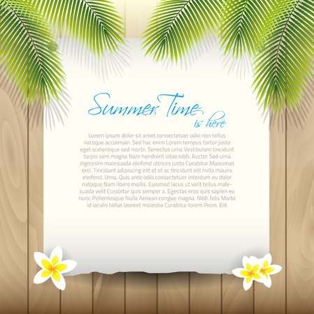 Summer Vector Background with Paper under Palm tree Leaves and place for your text Illustration