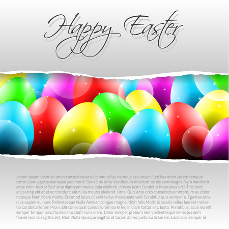 Happy Vector Easter  Background with Colorful Eggs and place for your text and torn paper Vector