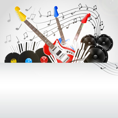 Vector Music Background with Instruments and Music Equipment with place for your text Vector