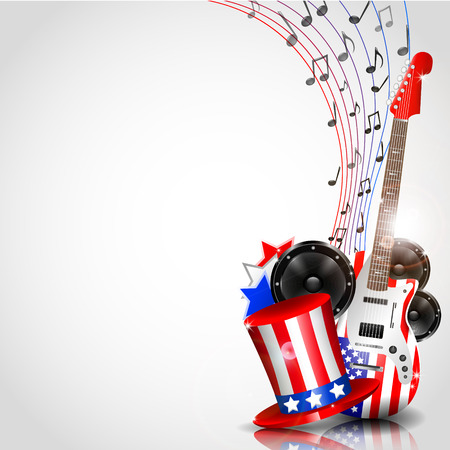 Vector Independence Day Background with Theme of Music and place for your text