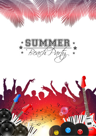Summer Music Background with Instruments - Vector with place for your text Vector