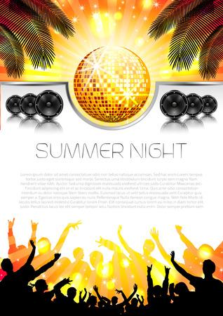 fiestas discoteca: Fondo de la música del verano con los instrumentos - vector con el lugar para el texto