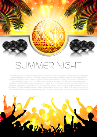 concert crowd: Music Summer Background with Instruments - Vector with place for your text