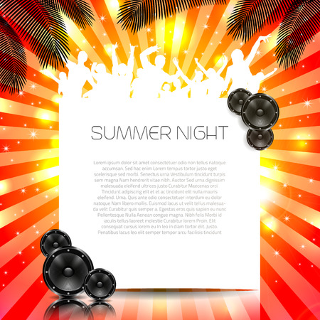 Summer Music Background with Instruments  Vector