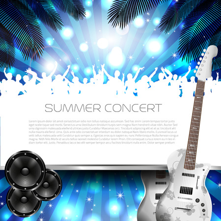 Summer Concert Background with Instruments - Vector with place for your text Vector
