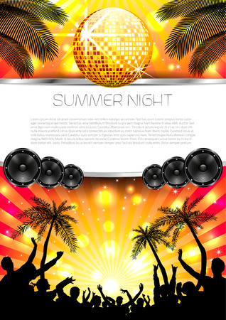 Music Summer Background with Instruments Vector