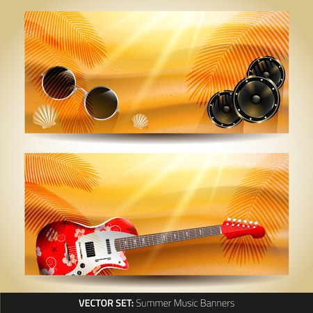 summer music banners with place for text Vector