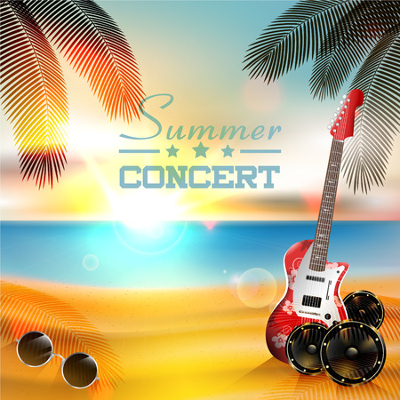 Summer concert background with guitar and sunset Vector