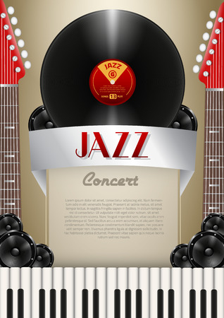 Music Background with Instruments and Music Equipment with place for your text Vector