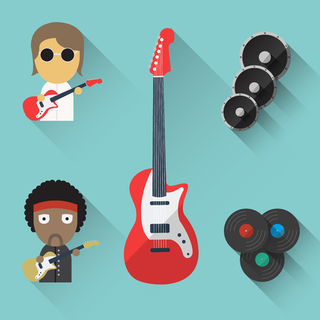 Flat Music objects  Vector