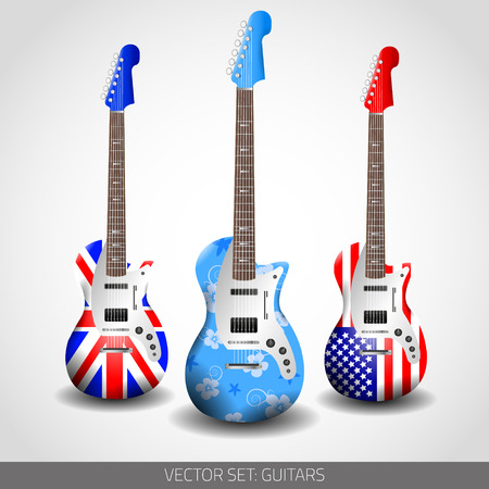 Set of Guitars for next work Vector