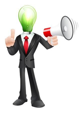 Business character with megaphone