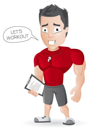 Cartoon Fitness Coach Иллюстрация