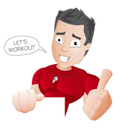 Cartoon Fitness Coach