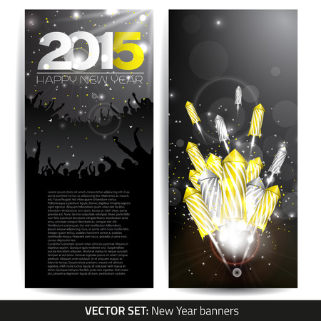 fire cracker: Set of two new year banners - vector