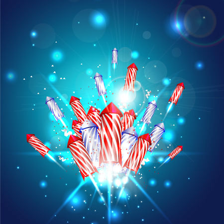New year background with fireworks - vector Vector