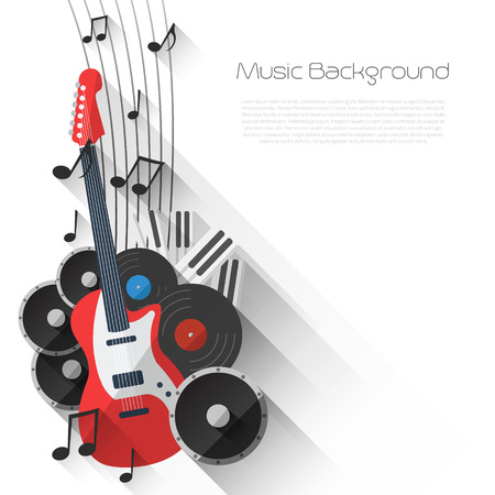 Vector Music Background in Flat style design and Music Equipment with place for your text Vector