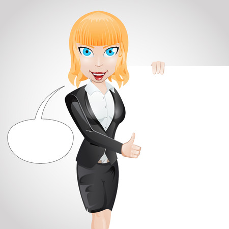 Girl Business vector character with place for your text Vector