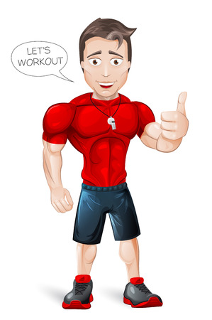 workout: Cartoon Fitness Coach - vector - editable Illustration