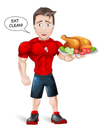 Cartoon Fitness Coach with healthy meal - vector Çizim