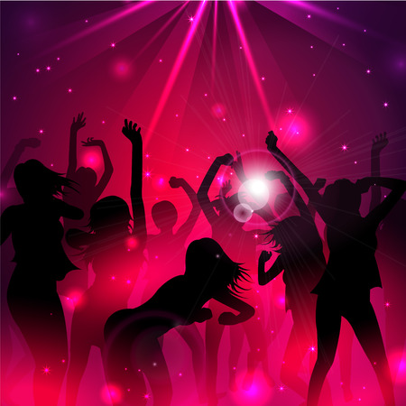 dancing: Magic Music Background with silhouettes of dancing girls  - Vector