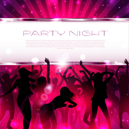 Music Background with silhouettes of dancing girls  - Vector Vector