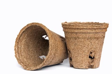 turf: turf potten voor zaailingen Stockfoto