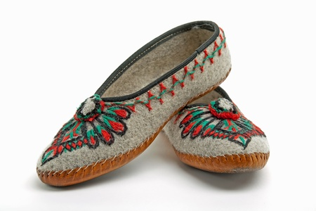 polish mountaineers wear such traditional slippers photo