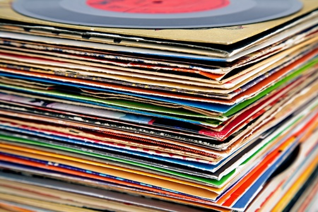 secondhand: old vinyl records pile Stock Photo