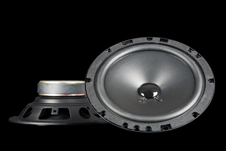 two car speakers shown from the front and side photo
