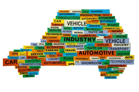 cloud of words describing the automotive industry presented in the shape of the car photo