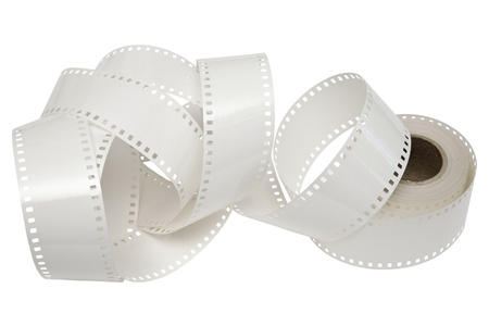 unwound: white film is unwound from the reel