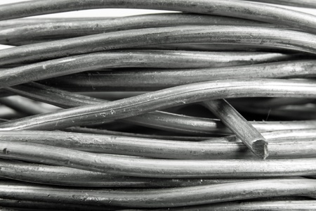 solder: close up of a roll of solder wire Stock Photo