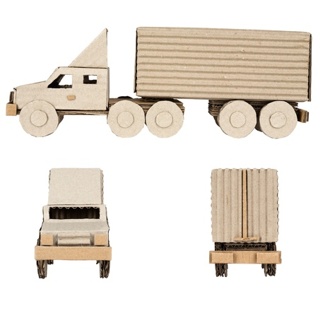 truck made from corrugated board side view and front and rear photo