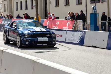 mustang gt: WARSAW, POLAND - SEPTEMBER 15: Racing car, Ford Mustang Shelby GT 500 during the third automotive show  Editorial