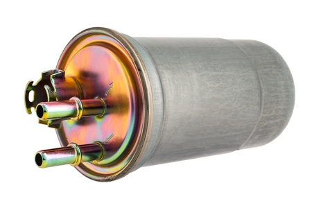 Fuel filter enclosed in a metal housing Stock Photo