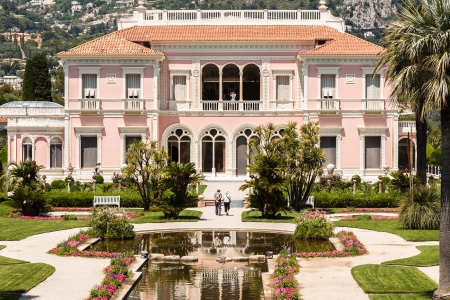 constructed: CAP FERRAT , FRANCE - May 28  Villa Ephrussi de Rothschild constructed between 1905 and 1912 at Saint-Jean-Cap-Ferrat on the French Riviera on May 28, 2012