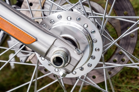 spoked: Spoked motorcycle wheel with brake system